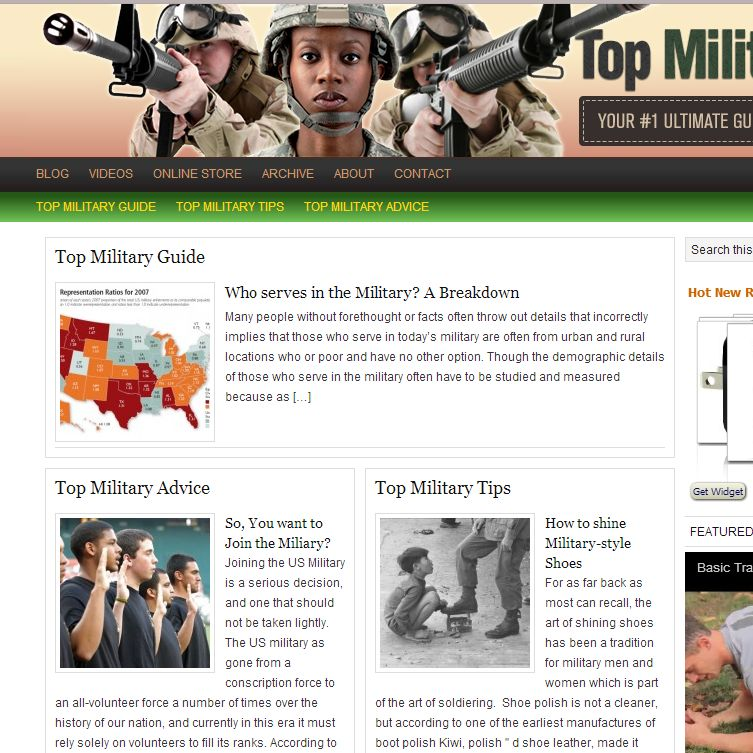 Screenshot of TopMilitaryGuide.com